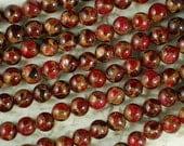 Ruby Quartz Pyrite 8mm Beads Stunning Red & Gold Round (5236)