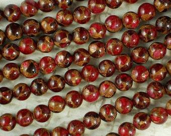 24 Ruby Quartz Pyrite 8mm Beads Stunning Red & Gold Round (5236)