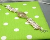 Pearl and Red Hemitoid Quartz Bracelet
