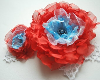SALE-red blue poppy flowers, handmade organza flower, corsage, brooch, fascinator, sash, weddings accessories, bridal hair clip, bridesmaids