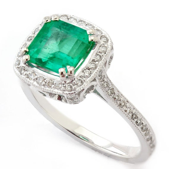 Cushion Cut Antique Style EMERALD & Diamonds Engagement Ring