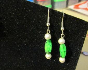 Earrings - Green n Silver