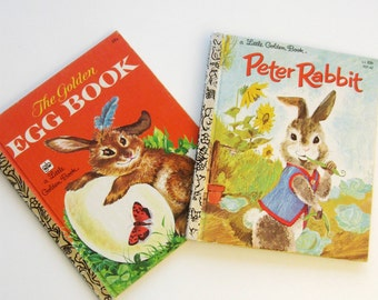 Vintage Picture Book Bunny Rabbit Golden Books Peter Rabbit Egg Book Easter Set of Two 1970s