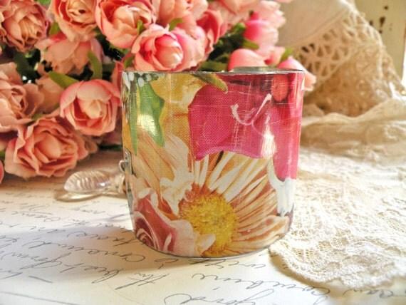wide bracelet tin cuff repurposed rustic vintage wildflowers ooak lilyofthevally