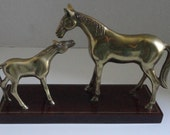 Solid brass Mare and Foal Statue.