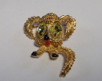 Vintage MAMSELLE Dog Brooch with large Crystal Eyes.