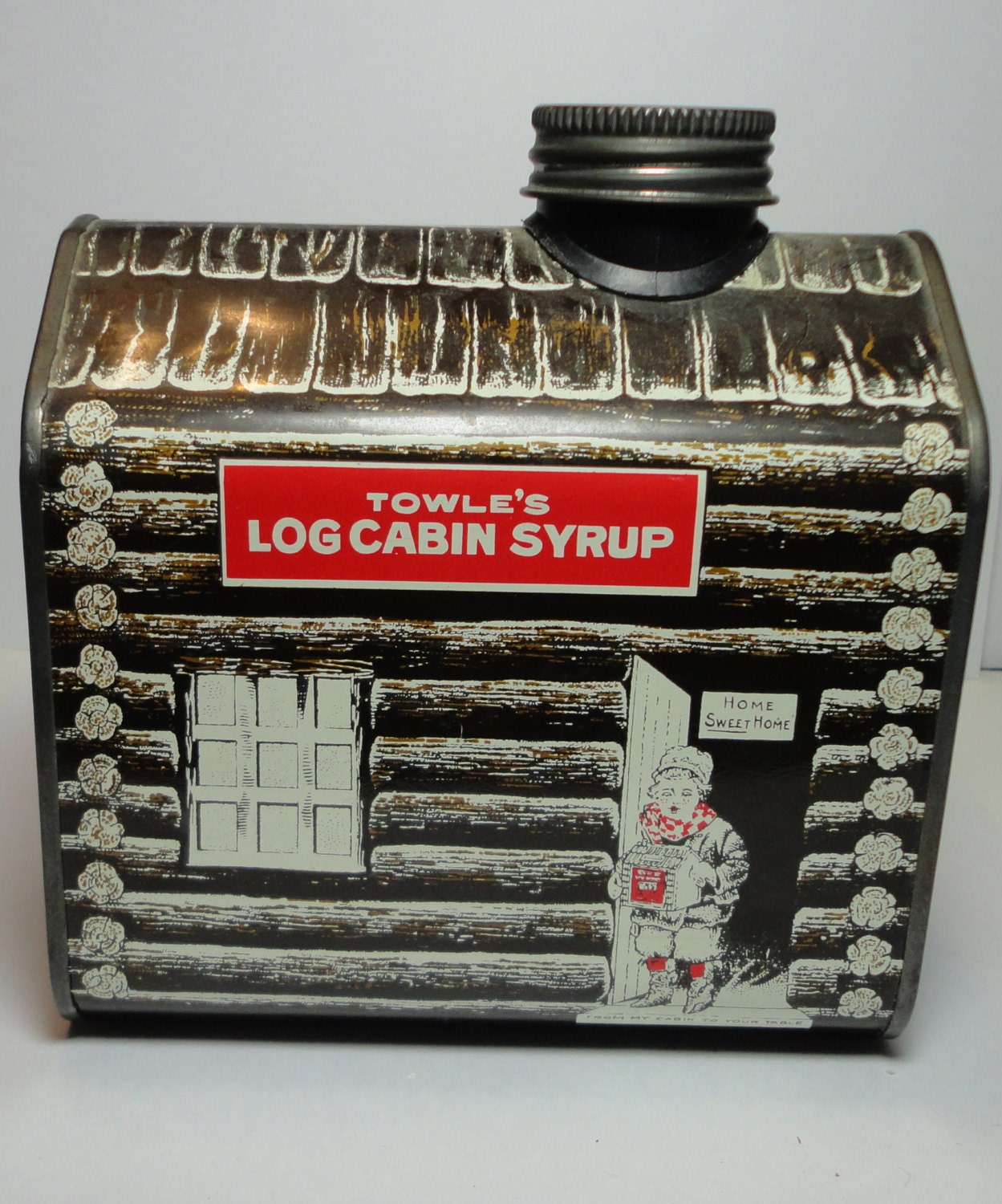 1979 Towle S Log Cabin Syrup Tin Can Bank By Cosasraras On