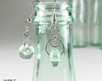 Recycled Glass Bead Art Deco Eclipse Drop Chandelier Earrings Beach Jewelry