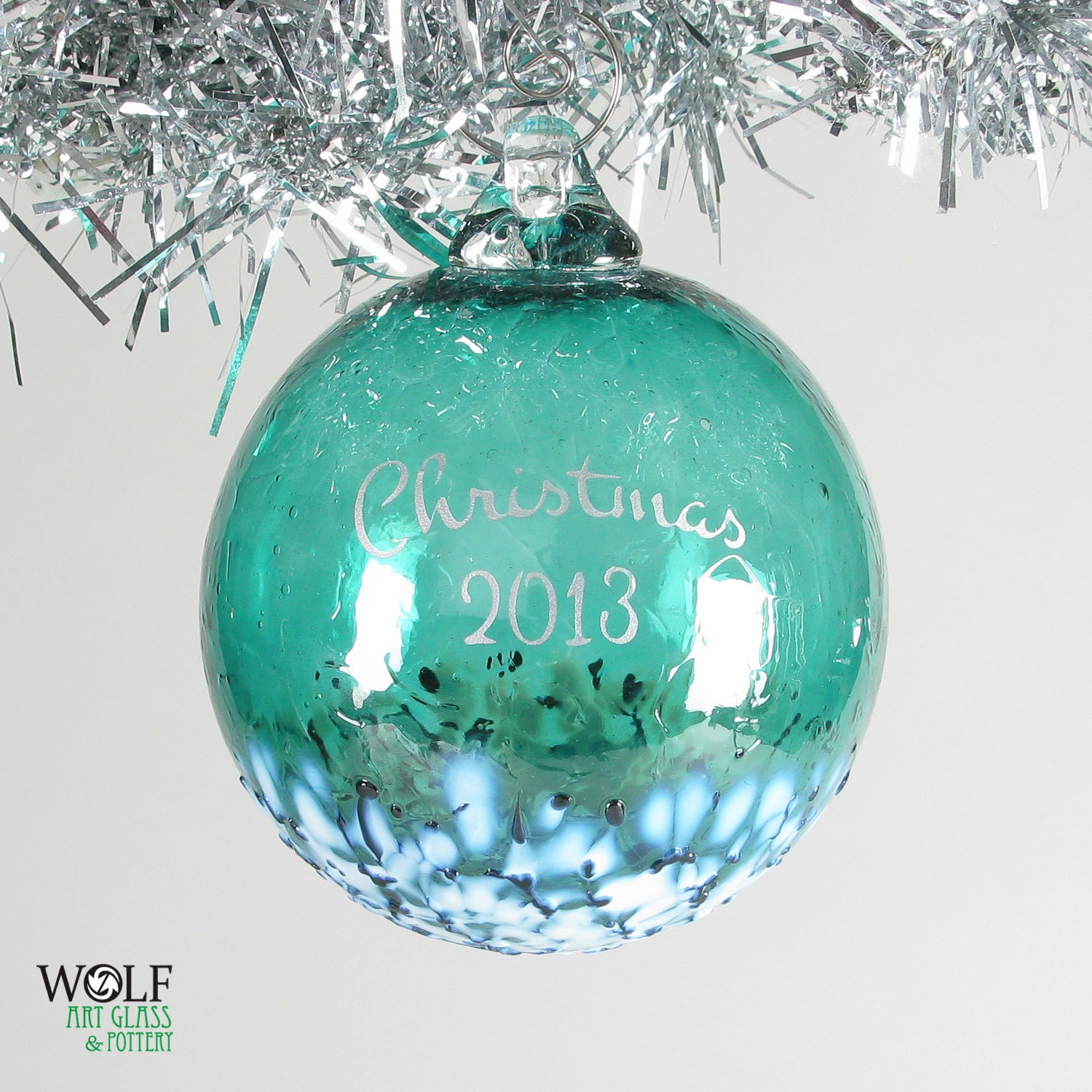 Blown Glass Ornament Personalized Christmas 2013 Etched Ball