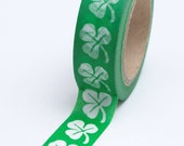 Washi Tape - 15mm - White Clovers on Green - Deco Paper Tape No. 737