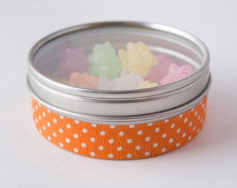 Fabric Deco Tape Orange with White Polka Dots - Scrapbook Embellish Decorate - Colorful and Fun - Single Roll No. F72