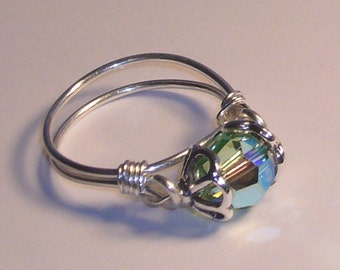 Ring, Peridot  Swarovski Crystal Jewelry, Sterling Silver