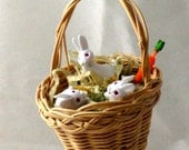 Tiny Mini Bunny Rabbits In A Basket With One Carrot
