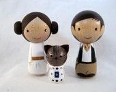 Kokeshi Princess Leia Han Solo R2 Cat Peg Doll collectable