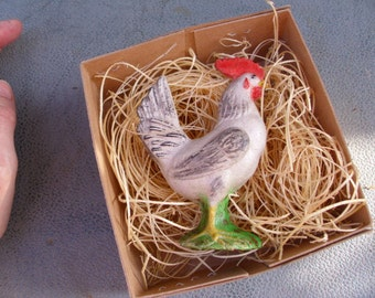 New 3D Paper Dresden Standing Rooster Christmas Ornament