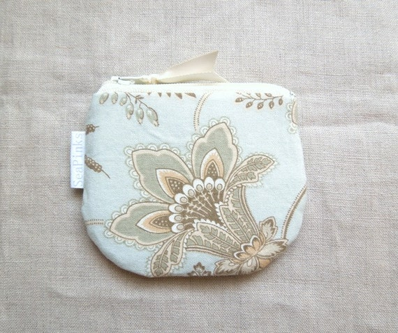 Pale Blue Floral Coin Purse Small Zipper Pouch