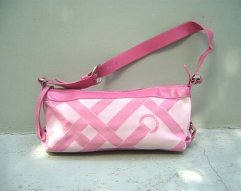 vintage authentic Lancel canvas and leather handbag in pink
