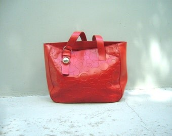 vintage authentic Furla leather handbag in red