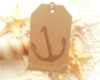 Kraft Anchor Tags with Real Sand Accent Set of 6