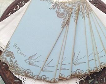Wedding Wish Tags True Love Bird Blue Wishing Tree Tags Set of 25