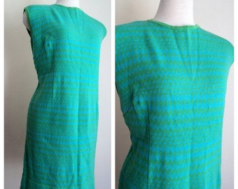 1960's Blue Green Dress // Wool Sleeveless Shift Dress // ZigZag Diamond Pattern