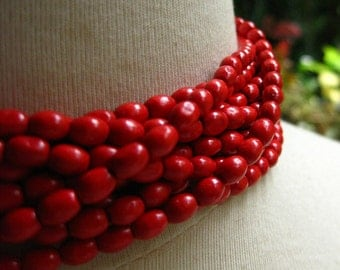 Bright Red Oval Rice Beads 6mm by 4mm 16 inches (40cm)