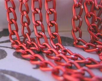 Bubble Gum Pink Aluminium 6mm by 3mm Curb Chain 3 Feet (91cm)