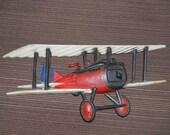 1975 Homco Biplane Cast Aluminum Wall Hanging