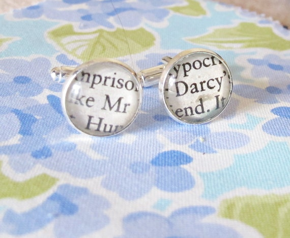 image mr darcy cufflinks cuff links jane austen pride and prejudice silver for him two cheeky monkeys