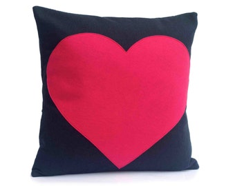 Pink Heart Appliqued Eco-Felt Pillow Cover on Navy Blue  - 18 inches
