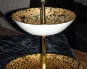 Pretty Vintage Kingwood 22k Weeping Gold 2 tier Serving Tray