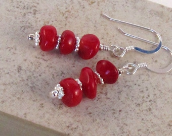 Red Coral Dangle Earrings, Sterling Silver, Valentine, Love Red