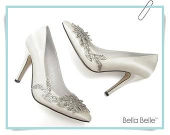 Wedding Shoes White or Ivory Vine Crystal Applique with Silver Beading Embellished Satin Bridal, Bella Belle DAWN