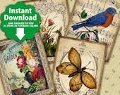 Vintage Garden / Flowers Birds Butterflies Music Gardening Floral Ornamental Spring - Printable Tags, Instant Download Digital Sheet