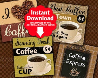 Coffee Signs Printable 4 Inch Squares / Hang Tags / Coffee Shop / Cup / Printable - DOWNLOAD 4x4 Inch Square Digital JPG Collage Sheet