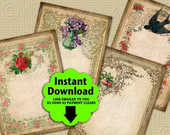 Antique Stationery Printable Hang Tags / Earring Cards - Printable Hang Tags, Jewelry Cards, Gift Cards, Download and Print Collage Sheet