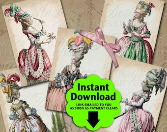 18th Century Fashion Set One / Marie Antoinette Tribute - Printable ATC, ACEO, Hang Tags, Instant Download and Print Digital Sheet