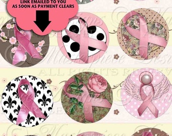 Think Pink - Breast Cancer Awareness Printable Collage Sheet  / Pink Ribbons - Printable DOWNLOAD One Inch Round / Bottlecap Designs