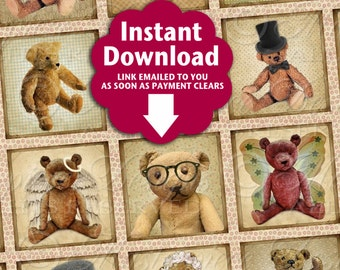 Old Timey Bears Printable Squares / Antique Vintage Teddy Bears Stuffed Animals - Printable DOWNLOAD One Inch Squares JPG Collage Sheet
