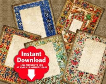 Medieval / Middle Ages / Hang Tags / Gift Tags / Journaling Tags - Printable Instant Download and Print Digital Sheet