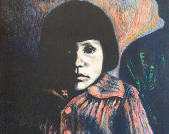Young Girl Art 10x8  Original Lithographs by Kendall F. Kessler