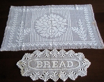 RUNNER Table Dresser Scarf Doily Detailed Hand Crocheted White Cotton Lace Set 2
