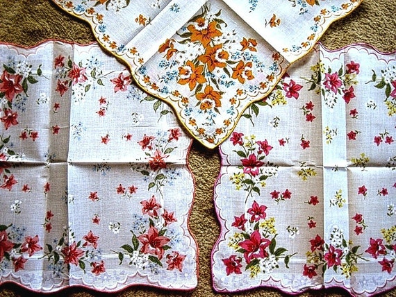 Handkerchief Hankie Set 3 Vintage but NEW UNUSED Flower Print Bright Colorful Prints