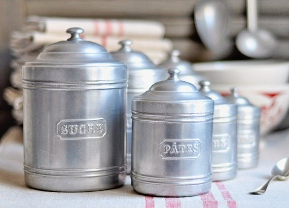 vintage french kitchen canisters set of 6 by petitsdetails