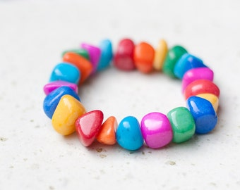 Bracelet Bright Colorful Candy Jade Chunky Cuff neon geometric modern fashion rainbow