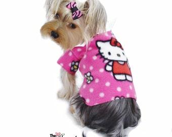 Hello Kitty Fleece Cuddle Dog Shirt Clothes Size XXXS through Medium by Doogie Couture