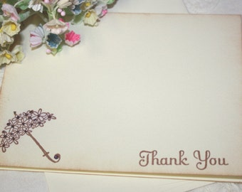 Baby Shower Thank You Cards - Umbrella with Purple Flowers - Set of 12
