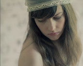 Delysia. Juliet Cap Headpiece made from Tulle with Lace edge and Beadings