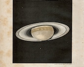 """Antique Print Outer Space """"The Planet Saturn"""" Vintage Natural History Stars Print - Planets Illustration"""