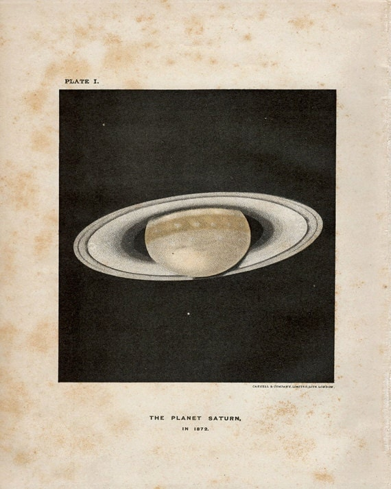 "Antique Print Outer Space ""The Planet Saturn"" Vintage Natural History Stars Print - Planets Illustration"